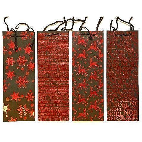 Set di 4x Natale nero Sacchetti regalo per bottiglie di vino, con testo rosso design fiocchi di neve e renne
