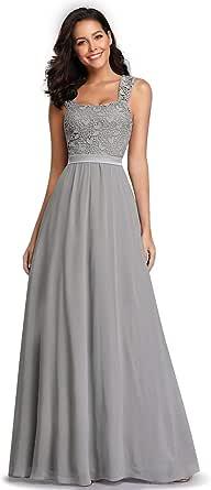 Ever-Pretty Vestito da Cerimonia Donna Pizzo Chiffon Linea ad A Stile Impero Senza Maniche Lungo EZ07704