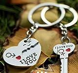 Sanlax Collection Hot Couple Gift Heart & Key Keychain Keyset, 1 Pair
