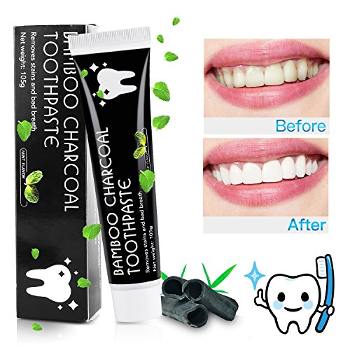 Aktivkohle Zahnpasta- MayBeau Natürliche Zahnaufhellung - Zahnpasta Ohne Fluorid - Zahnreinigung Bleaching Zähne - Teeth Whitening Toothpaste - Zahnpasta Weiße Zähne - Zahnbleaching Mint Flavour Minzgeschmack Für  Frischer Atem