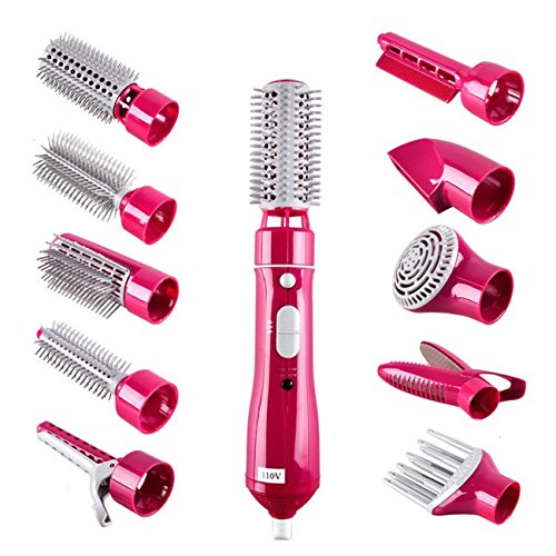 THEE 10 in 1 Haartrockner Haarglätter Lockenwickler Elektrisch Haarbürste Friseur Werkzeug,Rosa
