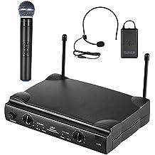 ammoon Micrófono Inalámbrico UHF Canales Duales Sistema de Micrófono con 1 Transmisor de Cuerpo 1 Trigo Auricular y 1 Trigo de Mano Receptor Micrófonos 6,35 mm Cable de Audio
