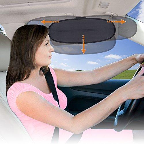WANPOOL Anti-Blendschutz für Auto Visier Sonnenblenden Verlängerung für den Fahrer und Passierie auf dem Vordersitz (Silber)
