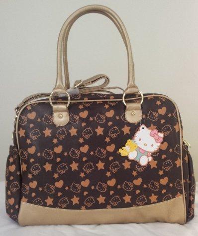 Hello Kitty Wickeltasche/Handtasche braun gold - Henkel und Schultergurt ()