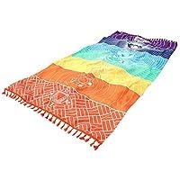 Aofocy Rainbow Chakra Tapiz Toalla Estera de Yoga Protector Solar Mantón Tapiz Hippy Boho Gypsy