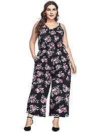 Lover-Beauty Mujer Mono Corto Verano Sexy Floral Print Talla Grande Tirante Escote-V Casual Jumpsuit Sin Manga Suelto Pantalones Pierna Ancha