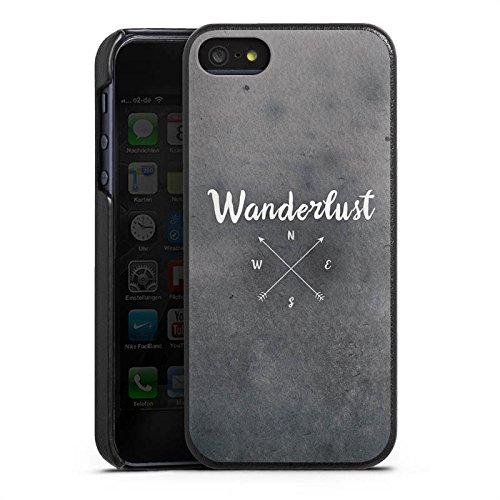 Apple iPhone 7 Lederhülle Leder Case Leder Handyhülle Kompass Reise reiselust Leder Case schwarz