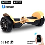 EVERCROSS Hoverboard Challenger GT Monopattino Elettrico , Balance Scooter Skateboard, con Bluetooth, APP e LED , Motore 700W(2*350W), con Due ruote 8.5in, (Oro)