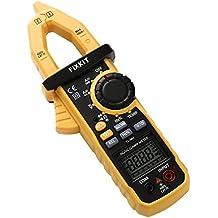 FIXKIT Multímetro Digital Pinza Amperimetrica para Medir Voltaje y Corriente AC / DC, Resistencia, Capacitancia, Voltaje, Frecuencia, Diodo, Continuidad y Prueba de Temperatura