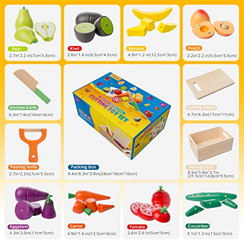 mysunny Wooden Kitchen Cut Food Kids Toy, Fruits and Vegetables Magnetic Toy, Cooking Simulation Educational Toys and Color Perception Toy for Preschool Age Toddlers Boys Girls