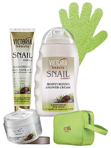 Coffret cadeau Victoria Beauty Snail Extract à la bave d'escargot - Crème concentrée anti âge jour et nuit, Crème douche hydratante et Crème pour mains et ongles
