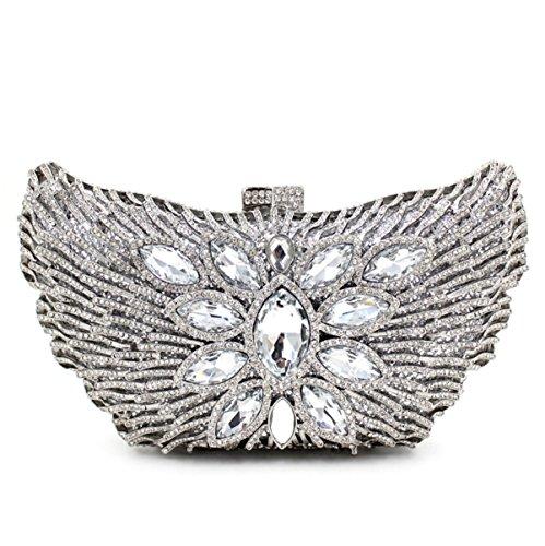 Delle Donne Di Alta Qualità Borsa Di Diamante Sera Pochette Da Sposa Silver