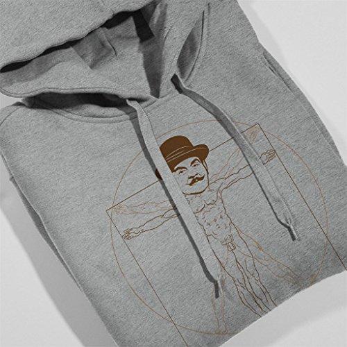 Vitruvian Poirot Womens Hooded Sweatshirt Heather Grey
