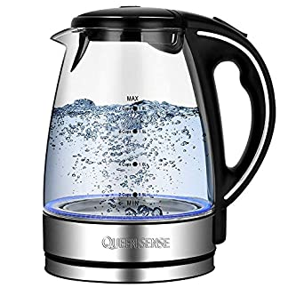 QUEENSENSE-Glas-Wasserkocher-Elektrische-Wasserkessel-17L-Teekocher-mit-blaue-LED-Beleuchtung-2200W-Fast-Heating-mit-automatische-Abschaltung-fr-berschtztung