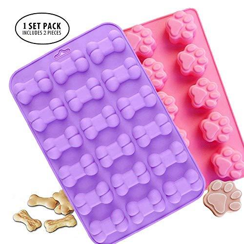 Moule en silicone de qualité alimentaire, antiadhésif Moule Bac à Glaçons, gelée, biscuits, Chocolat, bonbons, Cupcake Moule à gâteau, Moule à muffins (Puppy Paw et os 2 pcs)