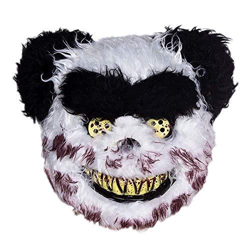 YaPin Halloween Kinder Maskerade Maske Halbes Gesicht Weibliche Horror Teddybär Tier Kunststoff Party Leistung Requisiten Schwarz Und Weiß