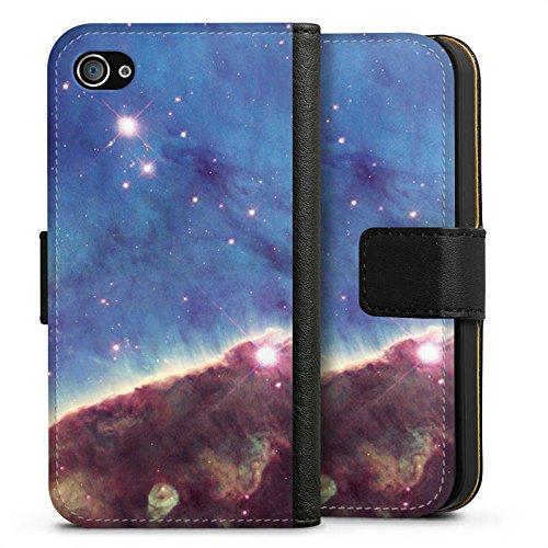 Apple iPhone X Silikon Hülle Case Schutzhülle Gabriela Mistral Nebel Space Galaxy Sideflip Tasche schwarz
