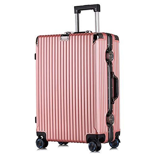 FDSjd Valigia da viaggio in alluminio con ruote per bagagli Valigia universale per ruote e chiavi in   metallo (colore : Oro rosa, dimensioni : 26 inches)