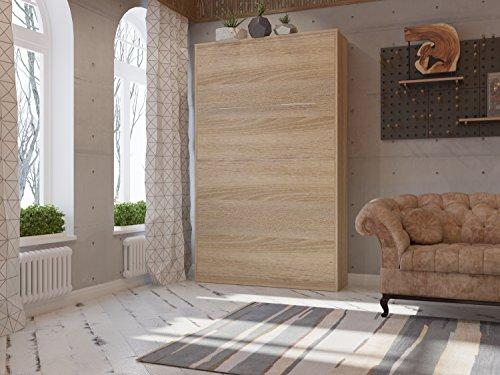 Schrankbett 120cm Vertikal Eiche Sonoma SMARTBett SMART Punkt Kaltschaummmatratze 120x200cm, ideal als Gästebett – Wandbett, Schrank mit integriertem Klappbett, SMARTBett - 2