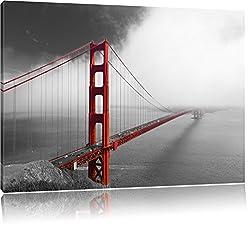 rote Golgen Gate Bridge in San Francisco schwarz/weiß Format: 120x80 auf Leinwand, XXL riesige Bilder fertig gerahmt mit Keilrahmen, Kunstdruck auf Wandbild mit Rahmen, günstiger als Gemälde oder Ölbild, kein Poster oder Plakat