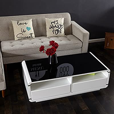 FurnitureR Glass Coffee Table Side Table 120 x 60 x 39 cm with 2 Drawers - inexpensive UK light store.