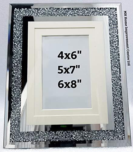 MH Bilderrahmen, verspiegelt, glitzernd, silberfarben, für 3 Fotos, 10 x 15 x 18 cm, Höhe 26,8 cm, Länge 22 cm (Großen, Verspiegelten Bilderrahmen)