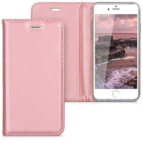 kwmobile Hülle für Apple iPhone 6/6S - Flipcover Case Handy Schutzhülle Kunstleder - Bookstyle Flip Cover Rosegold