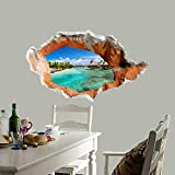Xizi 3D Deach Trou Stickers muraux Chambre Salon TV Fond de canapé HD Fond d'écran