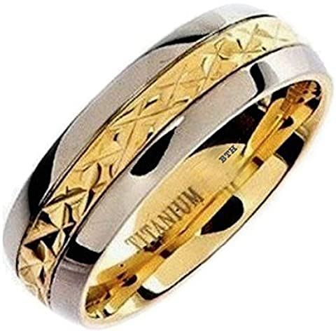 Mens Titanium Ring - 8mm Wide Classic Luxury Gold Inlay Wedding Engagement Comfort Fit Jewellery Band Ring - Size S (Available in Most Sizes )