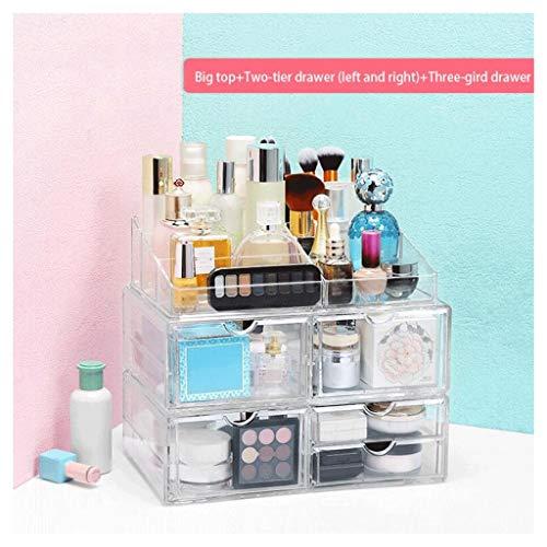 Étui de Maquillage Cosmétique Boîte De Rangement Maquillage Étagère Commode Bureau De Stockage Rack Tiroir Mode Grand Espace Transparent Non-acrylique Combinaison En Plastique Haute Transmittance Sall