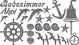 GRAZDesign 770077_57_071 Wandtattoo Badezimmer Ahoi Maritim mit Muscheln und Delfine | maritimes Set Bad-Tattoo für Fliesen - Wände - Tür (100x57cm//071 grau)