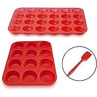 ZUOAO Piastra Antiaderente per Muffin Stampo per Torta in Silicone Cupcakes Baking Tray Mini Naturali Muffin Piccola Piastra con Coltello Plastica (12 + 24 Tazze) - Dozzina Muffins