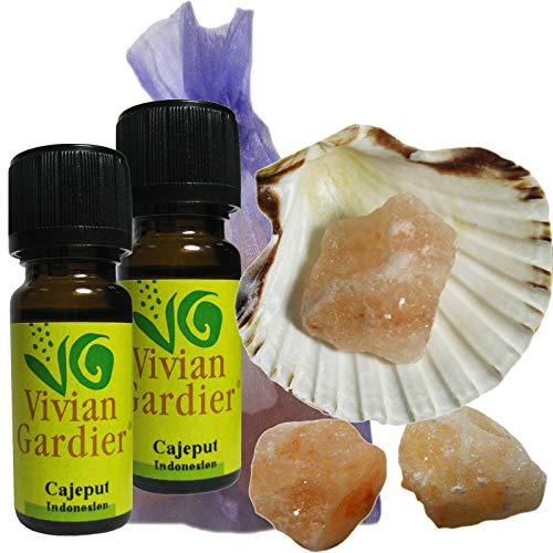 Cajeput Öl 2 x 10ml ätherisch + NATURREIN von VIVIAN GARDIER aus kontrolliertem Anbau #50022 | 7-teilig. Aromatherapie Duft-Set mit Muschel, 3 x Sole-Kristalle zum Wiederbeduften, Duftsäckchen. -