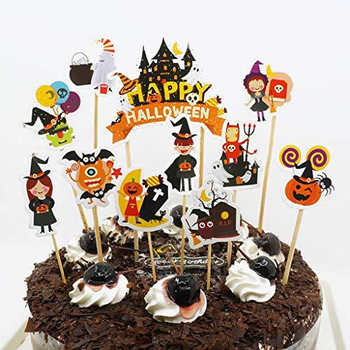 Ruda 11 Stücke Kuchendeckel Happy Halloween Geburtstagskuchen Papier -