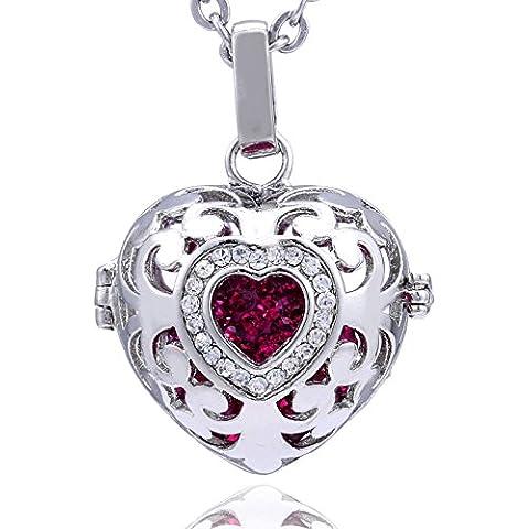 Catenina Morella donna angelo custode in acciaio inox 70 cm con ciondolo cuore-amore e sfera zirconi Ø 16 mm in sacchetto di