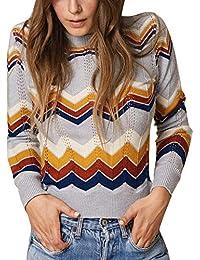 2ad01ce02 Jerséy de BaZhaHei, Mujer Otoño e Invierno Casual Raya Suéter de Punto  Jersey del suéter