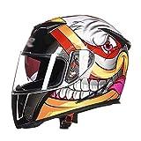 LL Doppel-Visor Full Face Motorrad-Helm Motorrad Full Helm Outdoor Männer und Frauen,4,M