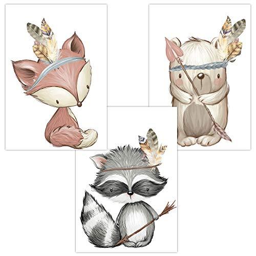 Wandbilder 3er Set für Babyzimmer Deko Poster | Kunstdruck DIN A4 | Dekoration Kinderzimmer Waldtiere (Fuchs Waschbär Bär Boho Junge)
