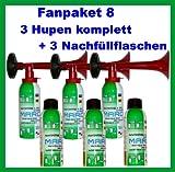 3 Marco Pressluftfanfaren 3 Marco Nachfüllflaschen--kein billiges China Produkt---Fanfare Tröte Drucklufthupe
