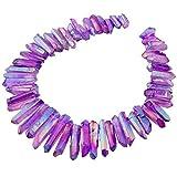KYEYGWO - Perle irregolari colorate di cristallo, perle sfuse di guarigione, pietra di cristallo naturale per bricolage, fabbricazione di gioielli, bracciali, collane, 40,6 cm, Violet