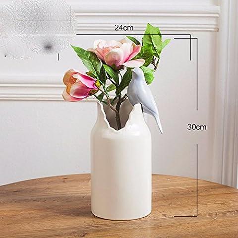 LKMNJ Meubles de fleurs artificielles Fleurs Vase en céramique d'émulation minimaliste moderne ,Rose Gardenia