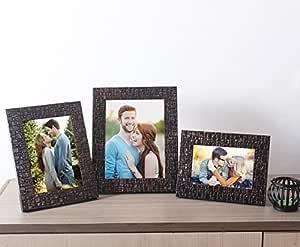 Art Street Copper Lalaveri Set of 3 Photo Frame - Table Top Mix Size 4X6, 5X7, 6X8