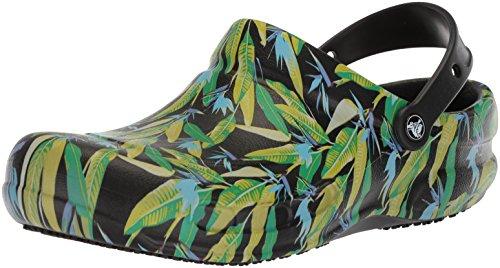 crocs Bistro Graphic Clog, Unisex - Erwachsene Clogs, Schwarz (Black/Parrot Green), 43/44 EU
