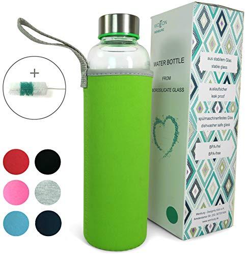 Wenburg Wolton by Trinkflasche/Glasflasche mit Edelstahl Deckel 550 ml / 750 ml Neopren Hülle. Sportflasche/Wasserflasche aus Glas. Für Unterwegs (grün, 1 l)