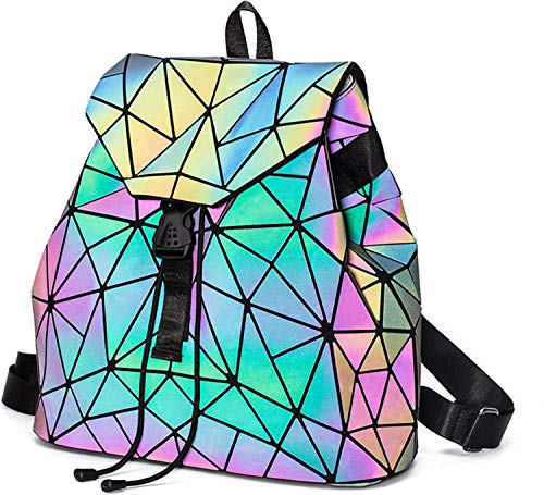 Geometrica zaino donna zainetto ragazza elegante zaini olografica luminoso casual scuola zaino moda borse a mano backpack daypack per scuola viaggio lavoro