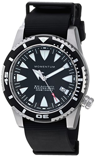 Momentum Men's 'M30 Automatic' Mechanical Hand Wind Stainless Steel and Rubber Casual Watch, Color Black (Model: 1M-DV30B11B)