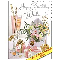 Jonny Javelin Female Happy Birthday Wishes Card - Champagne Present Cupcake Flowers