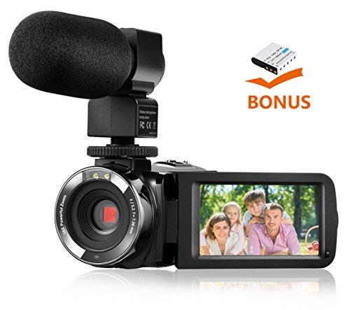 Kamera Camcorder, Hikeren HD 1080P Digital-Video-Camcorder-Kamera Nachtsicht-Fernbedienung Selbstauslöser Funktionen, Gesichtserkennung, 24,0 MP, 16X Digitales Zoom mit 3,0 Zoll TFT-LCD-Touchscreen und Digital Videokamera mit externem Mikrofon