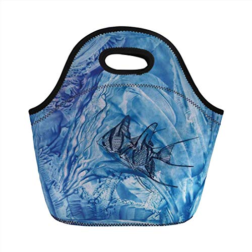 Portable Bento Lunch Bag,Watercolor Flower House Decor,Small Fish in Creepy Snow Cover Ice Crystal Labyrinth Aquatic Theme,Blue,for Kids Adult Thermal Insulated Tote Bags