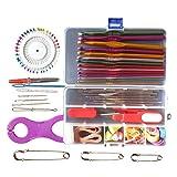 Hrph Mehrfarbenmetallhaken Needle Set Stricknadel Set Crochet Full Set Needle Gehäkelte Pullover Werkzeuge